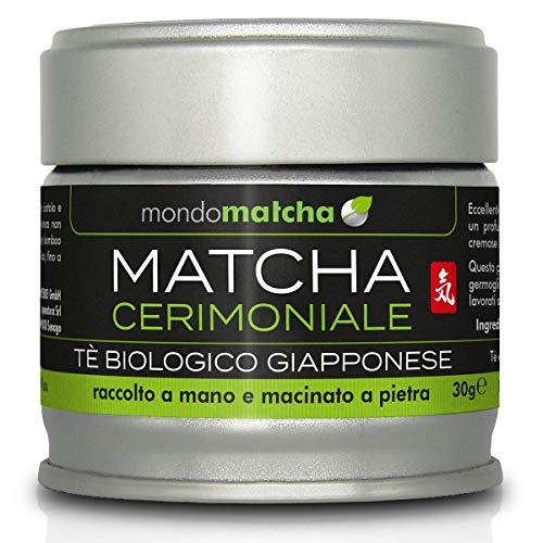 Tè Verde Matcha Bio Giapponese - Grado Cerimoniale dal 1° Raccolto di Primavera per Estimatori - dai Pregiati Giardini del Tè di Kagoshima, Raccolto a Mano, Macinato a Pietra - 30g Organic mondomatcha