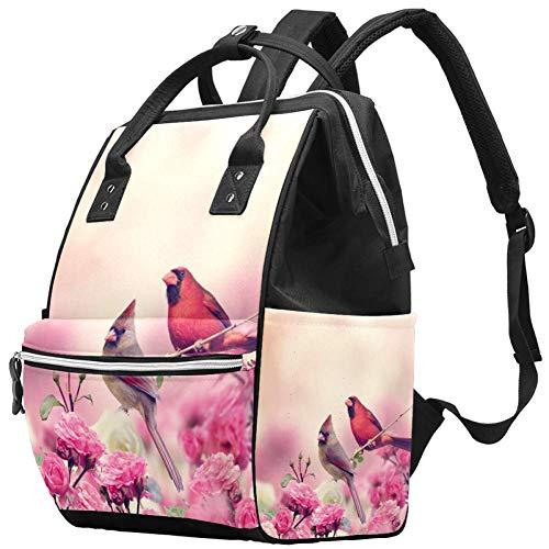 Bolsa de pañales de Animales de Pareja de Agapornis con Flores Rosadas, Mochilas para portátil, Mochila de Viaje, Senderismo, Mochila para Mujeres y Hombres