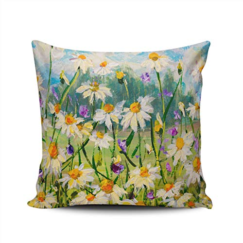 RGEMK Home Decoration Pillowcase Cushion Cover Abstract Art Oil Painting White Yellow Daisies Throw Pillow Case Chic Design Double Sided Printed Square Size 18 x 18 Inch