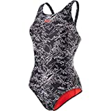 Speedo Damen Boom Allover Muscleback Swimwear, Black/White/Lava Red Liner and Branding, 44 EU