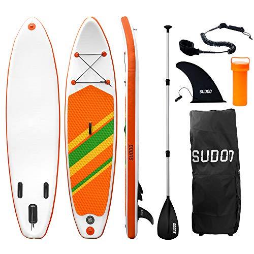 Triclicks SUP Aufblasbares Stand Up Paddle Board Paddling Board Surfboard mit Verstellbares Paddel, Handpumpe mit Druckmesser, Leash, Finner, Rucksack, 300 x 76 x 15cm (Stil 7)