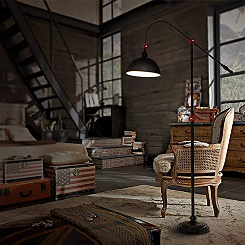 Industrial Floor Lamp With Adjustable Metal Lampshade, 59 Inches Rustic Standing Light, For Living Room, Bedroom, Office Tall Stand Up Lamp (Color : B)