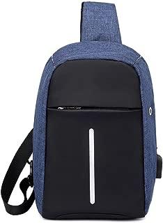 YXHM AU Chest Bag Unisex Messenger Bag Canvas Shoulder Chest Bag Casual Pockets (Color : Blue)