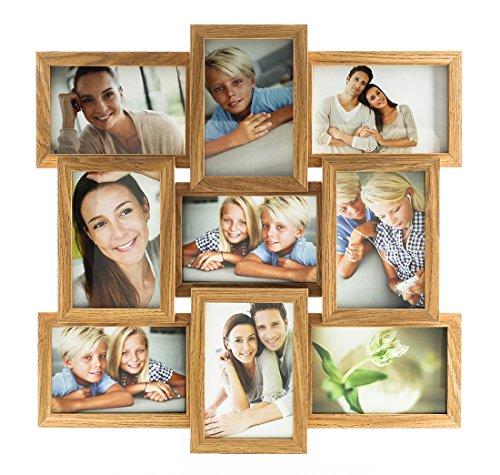 levandeo Holz Bilderrahmen Collage B x H: 45x45cm hochwertig verarbeitet 9 Fotos 10x15cm Glasscheiben Farbe Eiche Natur Fotogalerie Fotocollage Bildergalerie Fotorahmen