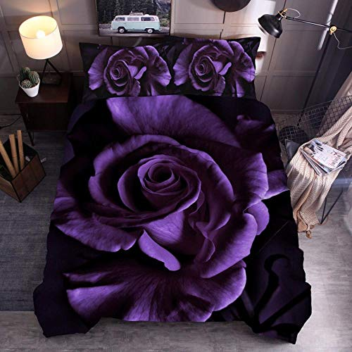Obrand Duvet Cover Set 3 pcs,Quilt Cover Set with Pillow covers,3D Rose Flower Ultra Soft Brushed Microfibre Bed Sets-Dark purple_220*240cm