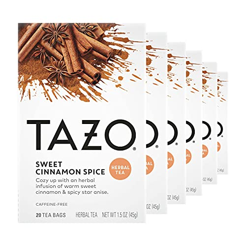 TAZO Herbal Tea Bags for a Classic Warm Beverage Sweet Cinnamon Spice Flavored & Non Caffeinated Tea, 20 Count, Pack of 6