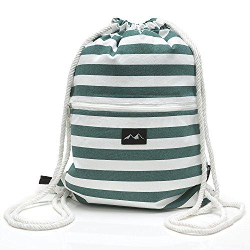 Santa Perago - Turnbeutel grün weiß gestreift aus 100% Bio Baumwolle GOTS - mit dicker Kordel - Reißverschluss und Außentasche aus robustem Baumwoll Canvas - in 8 hochwertigen Designs