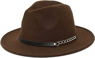 LanXi Women Simple Metal Belt Buckle Fedora Hat Panama Hats