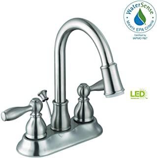Glacier Bay 67513W-6B04 Centerset 2-Handle LED Bathroom Faucet in Brushed
