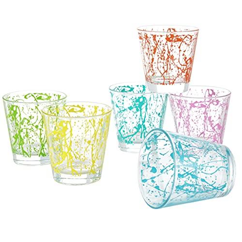 MONTEMAGGI Set 6 bicchieri acqua Decoro Colorato Stampato Astratti in vetro MADE IN ITALY Capienza 25 Cl.