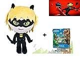 Miraculous Prodigiosa: Las Aventuras de Ladybug - Peluche Cat Noir 40Cm + Set de papelería El Viaje de Arlo.