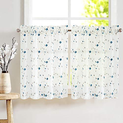 "Sheer Curtains Floral Embroideblue Curtains for Bedroom Blue Rose Buds on White Rod Pocket Voile 2 Panels for Kitchen 45"" Blue"