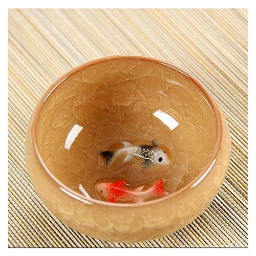 JSJJAEY Tasse Chinesische Eischnackglasur Keramik Teetassen Anaglyphen 3D Koi Fisch Art Becher Einzelne Tee Bunte Karpfen Fisch Porzellan Tazza 1pc 60ml (Capacity : 60ml, Color : Yellow)