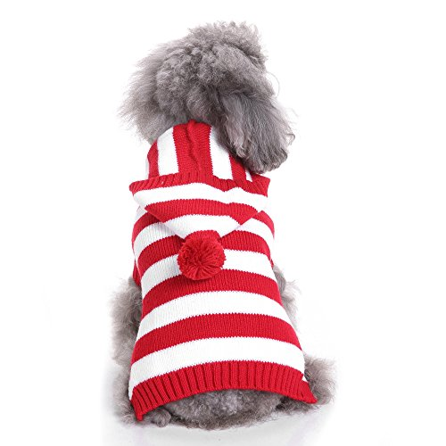 Red and White Striped Dog Sweater with bobble hat. 5 sizes, ideal for a doggy Where's Waldo look.