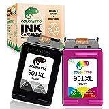 COLORETTO Cartucho de Tinta Remanufacturado para HP 901XL 901 XL (1 Negro,1 Tricolor) Compatible con Officejet J4624 4500 g510a G510n J4500 J4524 J4540 J4560 J4580 J4585 J4600 J4660 J4680 Impresoras