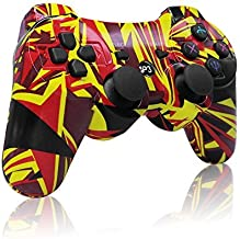 PS3 Controller Wireless Dualshock Remote/Gamepad for Sony Playstation 3 Bluetooth PS3 Sixaxis Joystick with Charging Cable(Flame)