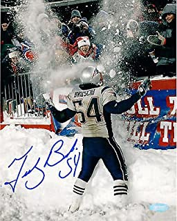 Tedy Bruschi New England Patriots Signed Autographed Snow Play 8x10 Photo