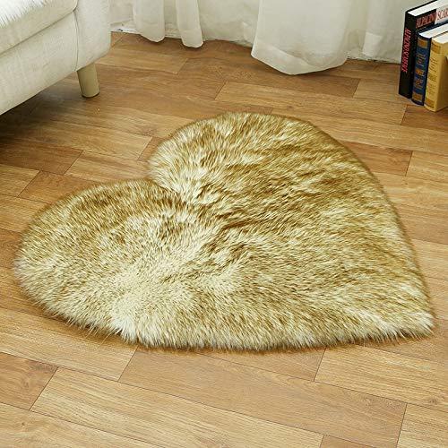AUXING Maßgeschneiderte Wohnzimmer Studie Schlafzimmer Nacht Teppich Bodenmatte Nachahmung Australischen Plüsch Pad Kann Mit Einem Feuchten Tuch Entfernt Werherzförmige 70 * 90