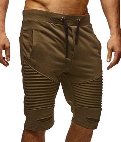 Leif Nelson Herren Kurze Hose Shorts Sweatshorts LN9025; Größe L, Khaki