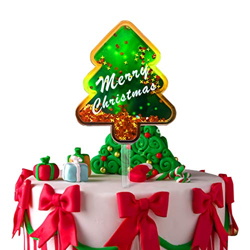 Merry Christmas Cake Topper, Funny Glitter Confetti Quicksand Acrylic Cake Topper for Christmas Decorations
