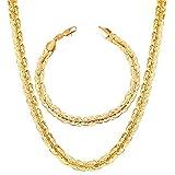 CLEARNICE Accesorios Conjunto De Pulsera De Collar De Cadena De Estilo Ovalado De Color Dorado para Hombres Conjuntos De Collar De Joyería
