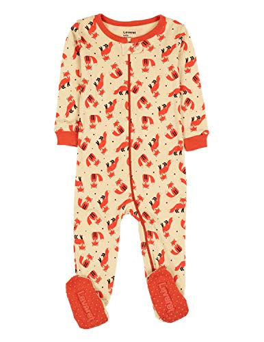 Leveret Baby Girls Footed Pajamas Sleeper 100% Cotton (Fox, 12-18 Months)