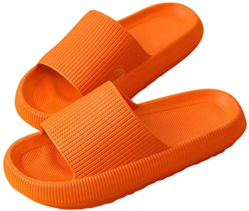 Zapatillas Secado Rápido Sandalias Engrosadas Zapatillas De Baño Antideslizantes Zapatillas Suaves De Punta Abierta Para Masaje Piscina Gimnasio Casa Zapatilla Para Interior Exterior,Orange-36/37