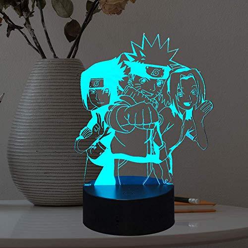 Japón Anime Uzumaki Naruto Sasuke Nara Itachi Kakashi Hinata Dibujos animados LED noche lámpara 3D ilusión 7 color USB cambio decoración ambiente lámpara de mesa cumpleaños