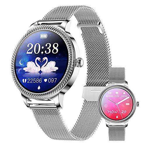 BNMY Smartwatch Mujer, Reloj Inteligente Mujer con 1.09 Inch Táctil Completa con Pulsómetro, Presión Arterial, Notificaciones Inteligentes, Podómetro, Reloj Inteligente IP68 para Android iOS,B