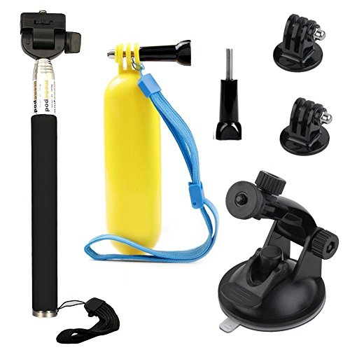 VVHOOY Float Handle Grip Adjustable Selfie Stick Monopod Car Suction Cup Mount Holder Compatible with AKASO Brave 4/5/V50 Native 4K/Campark X15 X20/Crosstour Waterproof Action Camera Accessories