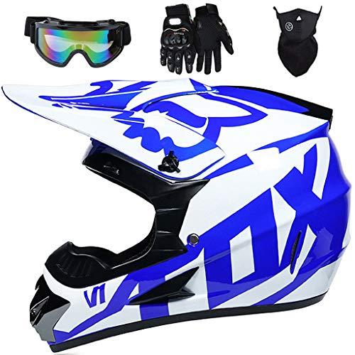 Aidasone YEDIA-01 - Casco de moto para niños, casco de motocicleta para adultos, jóvenes, de cara completa, para motocross, para Dirt Bike MX Quad Scooter, con diseño FOX, color blanco y azul