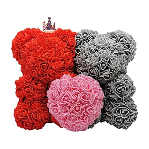 Oso de rosas de 40 cm, oso de peluche rosa hecho a mano Artificial per