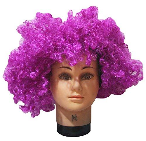 Petitebelle Halloween Violet Big Perruque afro Cheveux pour Unisexe Taille gratuit - Violet - Taille Unique