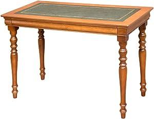 Arteferretto Table Bureau de Style Classique Louis Philippe avec tiroir et Dessus en Cuir Largeur 110 cm, Pieds tournés en Bois Massif idéal pour Chambre, Bureau ou Cabinet très Fonctionnel