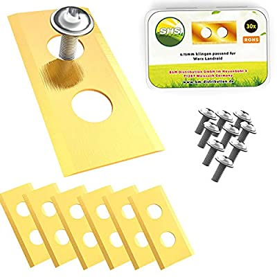 RASENFREUND 30x Titan Blades Replacement LONGLIFE for Worx LANDROID Robotic Lawn Mowers/for e.g. WR Series, M Series, L Series Much More. + 30 Screws Set Package