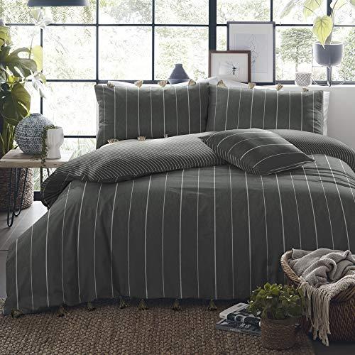Appletree Delta Stripe-Garment Washed Duvet Set, 100% Cotton, Slate, Super-King