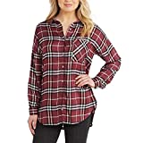 Mud Pie Women's Burgundy Plaid Rocky Button Down in Individual Sizes Small