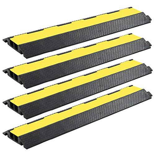 Festnight Pasacables de Suelo Rampa de Protección de Cable 4 Piezas 2 Canales Goma 101,5 x 24,5 x 4,7 cm