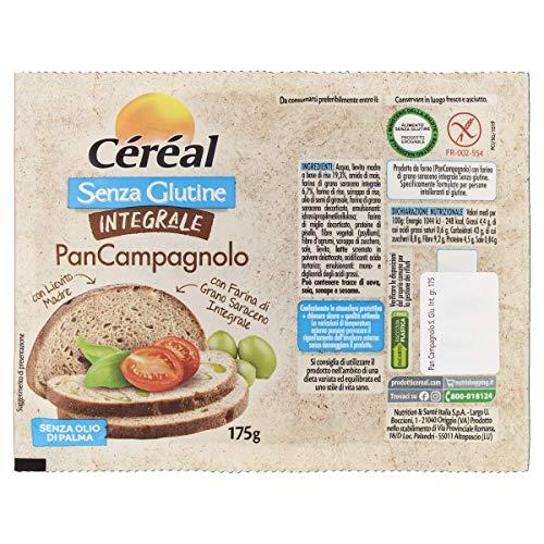 Céréal Pan Campagnolo senza glutine, pane senza glutine, con Lievito Madre, con farina di grano saraceno integrale, pane integrale - 175 g