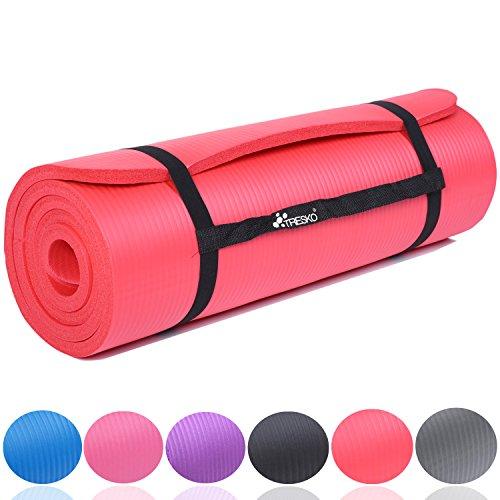 TRESKO Fitnessmatte Yogamatte Pilatesmatte Gymnastikmatte 6 Farben/Maße 185cm x 60cm in 2 Stärken/Phthalates-getestet/NBR Schaumstoff/hautfreundlich, kälteisolierend (Rot, 185 x 60 x 1.5 cm)