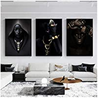 LLXHG壁のポスターに宝石のキャンバスの絵画を持つアフリカの黒人女性は、リビングルームの家の装飾のための肖像画の壁の芸術の写真を印刷します-60X80Cmx3Pcs非フレーム
