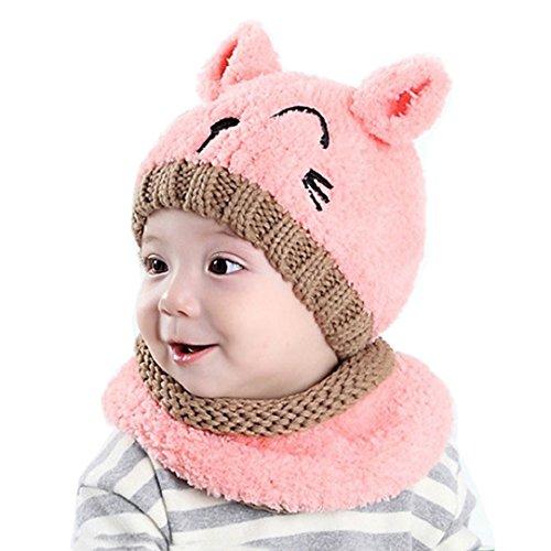 Tuopuda® Gorro y Bufanda de Invierno para Bebe niña niño Sombrero Gorro de Punto (Gorro y Bufanda Rosa)