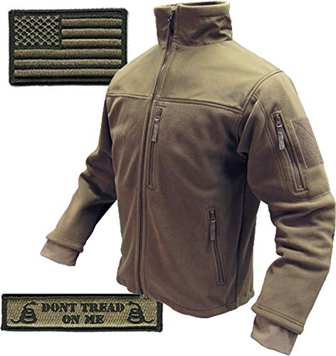 Condor Tac-Jacket (Coyote-2XL) & USA Flag & Dont Tread Patch - 3 Item-Bundle