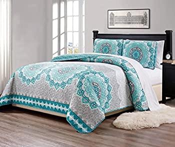 Linen Plus Full/Queen 3pc Over Size Quilted Bedspread Floral Medallion Turquoise Teal Aqua Coastal Plain/Gray Green New