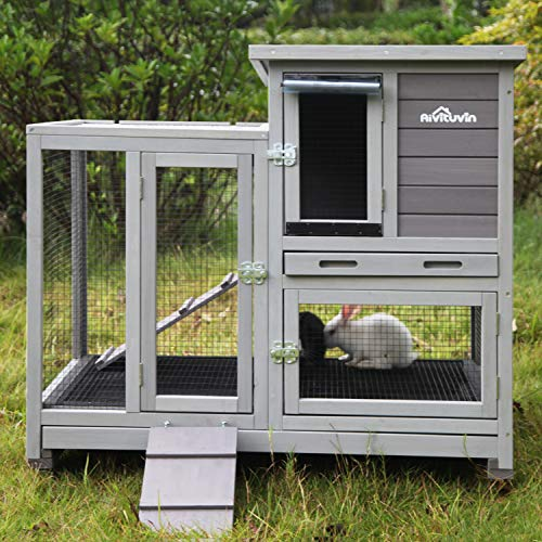 Aivituvin Rabbit Hutch Bunny Hutch Large Rabbit Cage, Indoor Bunny Cage Outdoor Rabbit House (Style1)