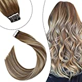 Ugeat 24Pulgadas/60cm Tape in Extensiones Cabello Humano Natural 2.5g/pcs 50g Balayage Brown y Blonde #9A/60 Skin Weft Humano Natural
