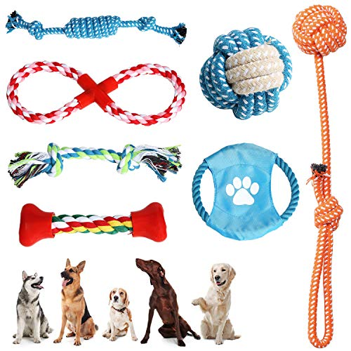 VECELA Welpenspielzeug Set, 7 Stück UnzerstöRbares Hundespielzeug Interaktives Hundespielzeug Tauziehen Hundespielzeug Geeignet für kleine und mittlere Hunde