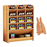 Marbrasse Wooden Pen Holder, Pen Organizer for Desk, Desktop Stationary Organizer, Easy Assembly, Home Office Art Supply Organizer Storage with Rack (B12-Cherry Color)