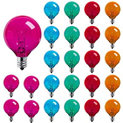 25 Pack Multicolor Transparent G40 Globe Bulbs with E12/C7 Screw Base, 5Watt Replacement Glass Bulb for G40 Strand, UL Listed Globe Bulbs for Indoor Outdoor Commercial Festival Use