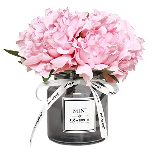 Rocinha Artificial Flowers with Vase Peony Fake Flowers Bouquet Faux Flowers in Vase for Wedding, Home, Living Room, Bathroom, Dining Table, Desk, Office, Garden Decoration